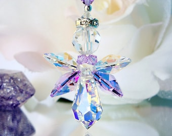 Purple Angel Rear View Mirror Charm, Swarovski Crystal Guardian Angel Car Accessories, Angel Suncatcher for Car
