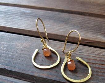 Seed Petal - Brass Stone Earrings - Peach Moonstone Earrings - Artisan Tangleweeds Jewelry