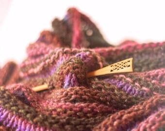 Celtic Shawl Pin - Wood Shawl Pin - Lace Shawl Pin - Handmade Shawl Pin - Scarf Pin - Sweater Pin - Gift for Knitters