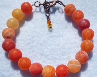 Frosted Orange Agate Bracelet