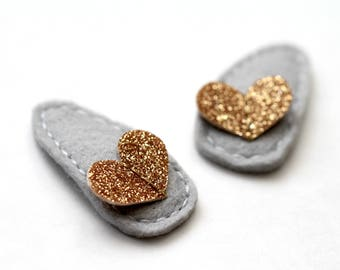 Glitter Heart Hair Clips. Set of Two Girls Hair Accessory. Holiday Hair Sparkle Clips.