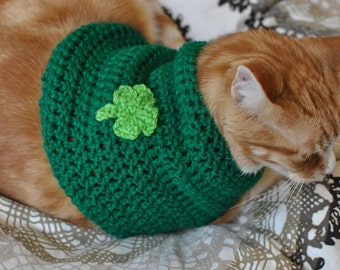St. Patrick's Day Cat Sweater- St Paddy's Day Cat Sweater- Clothes for Cats- Cat Shirt- Leprechaun Cat Sweater- Leprechaun Cat
