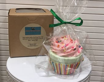 Shea Butter Bath Bomb Cupcake With Whipped Soap Frosting and Sorinkles