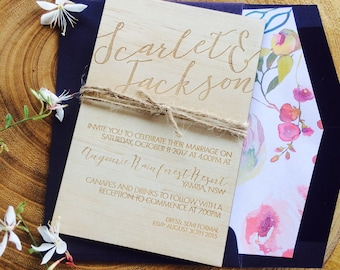 Wooden wedding invitation. -Limited Edition wood invitation and  watercolour florals lined envelope set- wedding invitation. 10 pack