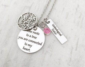 Unbiological Sister Tree of Life Charm Necklace - Best Friend Gift for Women - Moving Away Gift for Freind - Secret Message Necklace