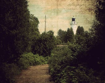 Lighthouse Decor, Nautical Art, Large Wall Art Print, Home Decor, Bathroom Decor, Coastal, Door County, Path to Cana