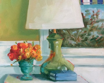 Still Life Painting • Lamp #3 with Ranunculus • Original Art • Oil Painting • Daily Painter • Daily Painting