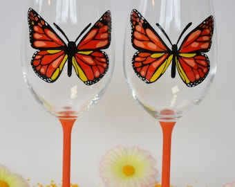 Set of 2 Hand painted Wine glasses Monarch Butterfly Orange and Black color