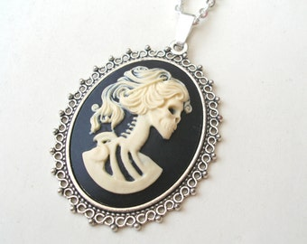 Large Zombie Necklace, Cream and Black Cameo Necklace, Lolita Necklace, Skeleton Necklace, Skull Necklace, Silver or Bronze