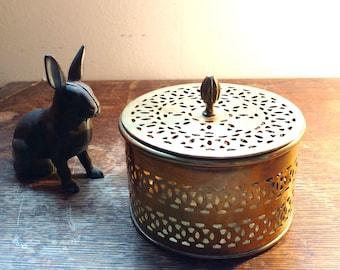 Vintage Brass Round Container Cricket Box