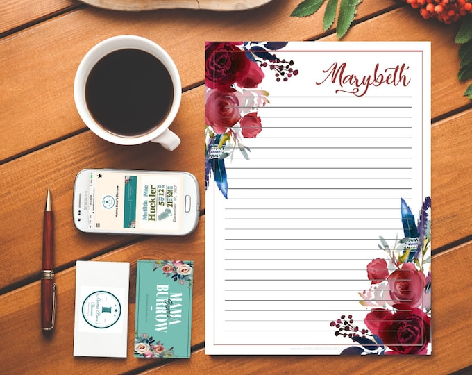 Featured listing image: Customizable Stationary: Merlot and Navy Pattern