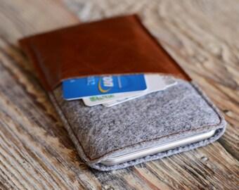 Case. iPhone 6 plus case. Leather phone cover. Creditcard holder case. Felt iPhone 6 plus case