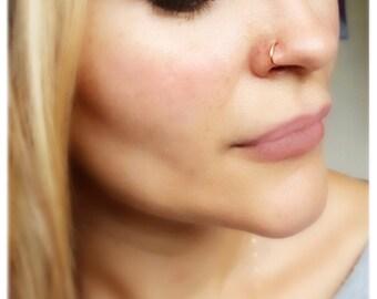 Nose Ring Gold, 14K Gold Nose Ring, 20 Gauge Nose Ring, Nose Ring Stud, Solid Gold Nose Ring, Hoop Nose Ring, Body jewelry