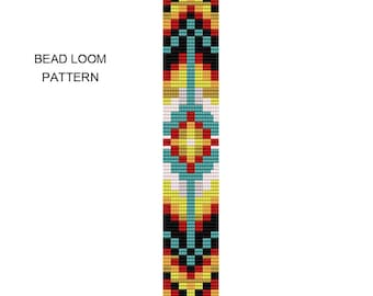 Tribal Square Stitch Bracelet Pattern - Tribal2Square - Bead Loom Pattern