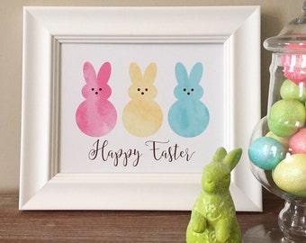 Happy Easter Printable | Peeps | Instant Download | Easter Wall Art |Easter Peeps | Easter Print | 8x10 | Peeps Printable | Easter Art |