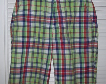Vintage Polo Ralph Lauren Lime Green Red Blue Indian Madras Plaid Shorts 32 Cotton