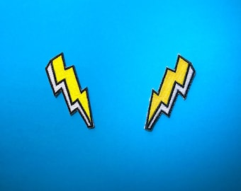 Lightning Strikes Twice - set of 2 Patches // Bolt Iron on patch // Embroidered patch // Applique