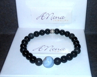 """Men's Bracelet Genuine:Jasper,Blue Lace & black agate, Silver-Plated Copper  """"I Am Able"""" By ANena Jewelry Free Ship"""