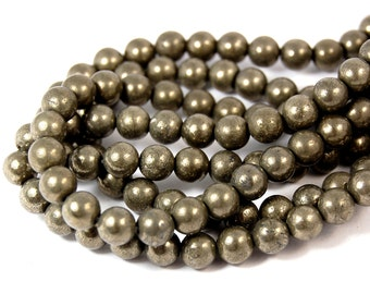 """Two 15.5"""" strands, Pyrite Beads, 8mm Round (A grade)"""