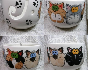 A Gaggle Of 5 Goofy Cats On Yarn Bowl Ready To Ship  Earthenware Clay by Grace M Smith