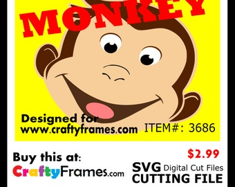 ITEM # CF-3686 - Curious George Monkey - SVG Cutting Machine File - Instant Download - Commercial Use - 2.99