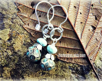 Handmade Earrings with Tribal Tibetan Turquoise Silver Inlay beads