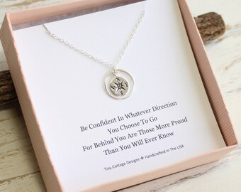 Sterling Silver Eternity Circle Compass Necklace...  Graduation Inspirational Quote Sentiment Card