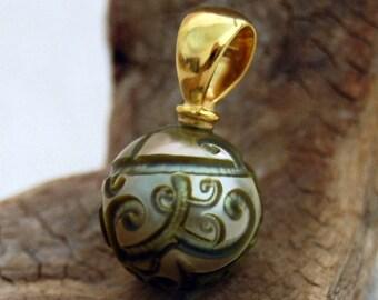 Terra - OOAK Tahitian Pearl Pendant, pendant necklace, pearl necklace, hand carved, pearl pendant, gold, anniversary, gift for her, woman