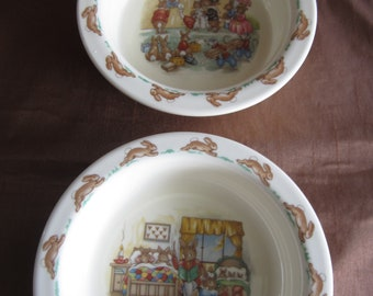 Royal Doulton, Bunnykins,  2 x straight sided cereal bowl