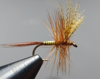 Three (3) Quill Mayflies, size 14 (Olive,Yellow,or Brown), for fly fishing