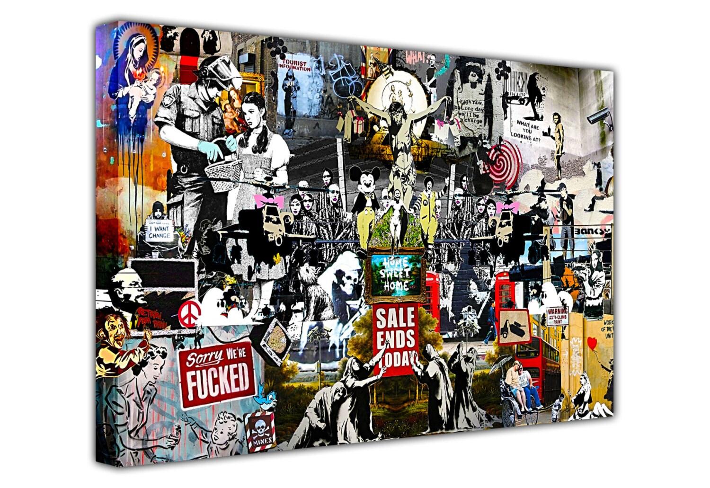 Banksy Collage Sammlung Leinwand Bilder Montage Wandkunst