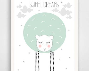 Sweet Dreams Sleepy Sheep - Mint Nursery Wall Art Print - Baby Wall Art