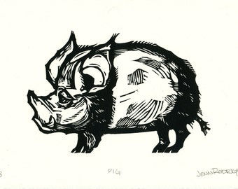 "Hand-pulled Linocut - ""Pig"""