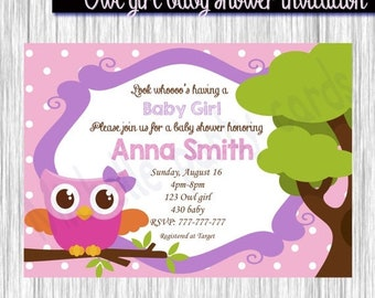 50%Off Owl girl baby shower invitation-Available 5x7or 4x6 format