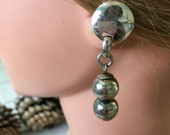 "Vintage 70's ""SILVER TONED DANGLE"" Clip On Earrings"