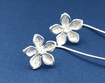 Silver Flower Earrings with a Long Stem Sterling Studs Post Earrings SPRING FLOWERS New Design