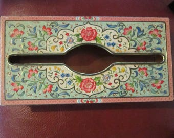 vintage daher wall mount tissue box floral tin from holland