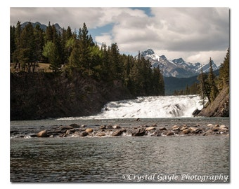 Bow Falls Print, Canadian Waterscape Photography, Bow River, Banff National Park, Lake House Bathroom Decoration, Office Staging Wall Art
