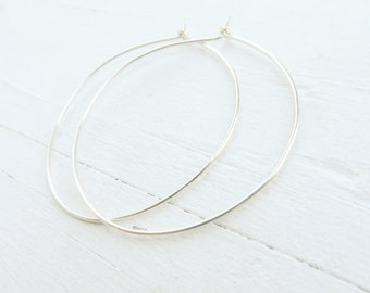 Thin Silver Hoop Earrings Sterling Silver Hoop Earring Wire Hoops Everyday Jewelry 2 Inch Hoop Earings 1.5 In Hoops Minimal Jewelry