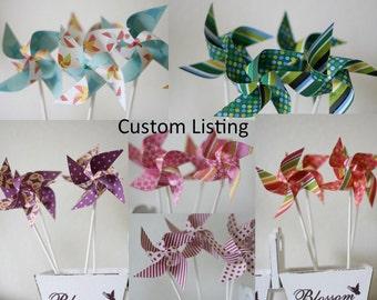 Escort Cards PINWHEELS Wedding/Birthday decor/favors 50 mini Pinwheels (Custom orders welcomed)