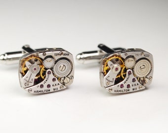 Steampunk Cufflinks HAMILTON 911 Ruby Jewel Watch Movement Cuff Links - Great for Wedding Gift - Fathers Day - Anniversaries