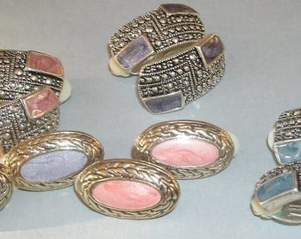 Vintage 1990s Unsigned Clip Earrings Jewelry Lot 5 Pairs Coordinating ~Diamond Dust~ Pastel Enamels Mixed Goldtone Silvertone