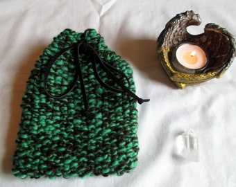 Tarot bag | Tarot pouch| knitted Tarot bag | handspun Tarot bag | rune pouch | oracle card bag |  green Tarot bag | gift bag | charm bag