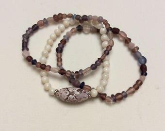 Purple strtch bracelet trio