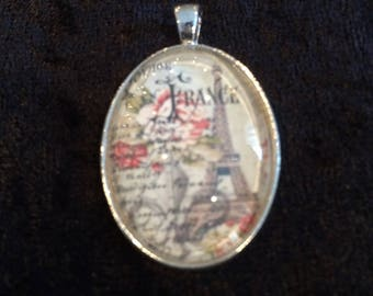 France Collage Pendant, Key Ring, Zipper Pull, or Ornament