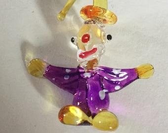 Large Glass Clown Realistic Shape Vintage Studio Button Figure Colorful