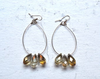 beaded champagne glass hoop earrings