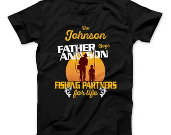 Father & Son Fishing Partners For Life Personalized Family Name Custom T-Shirt