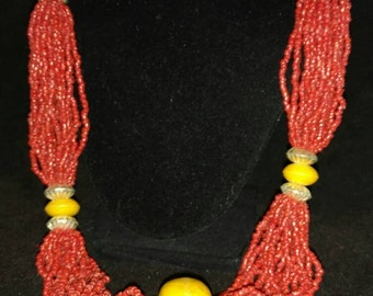 Multi Strand Coral Seed Bead Necklace