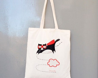 Seconds sale - superhero cat tote bag - cotton screen printed by hand using earth friendly inks red black